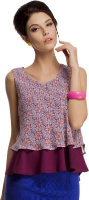 Clovia Casual Sleeveless Floral Print Women's Purple Top