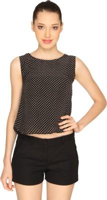 Ashtag Casual Sleeveless Polka Print Women's Black, White Top