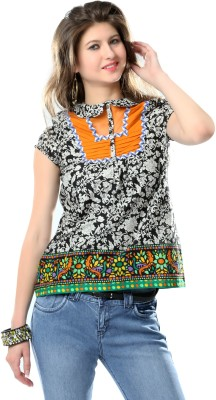 Glam & Luxe Casual Short Sleeve Printed Women's Orange, Black Top