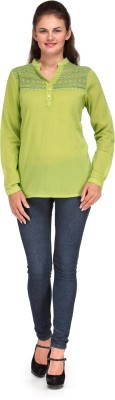 India Inc Casual Full Sleeve Solid Women's Green Top