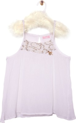 Roses By Rose Vanessa Casual Sleeveless Printed Girl's White Top