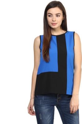 Rare Casual Sleeveless Self Design Women,s Blue Top