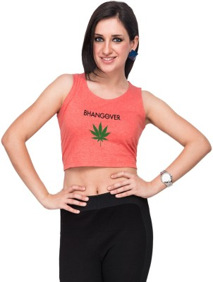 Campus Sutra Casual Sleeveless Printed Women's Orange Top at flipkart