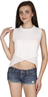 Svt Ada Collections Party Sleeveless Solid Women's White Top