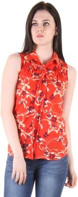 SS Casual Sleeveless Printed Women's Orange Top