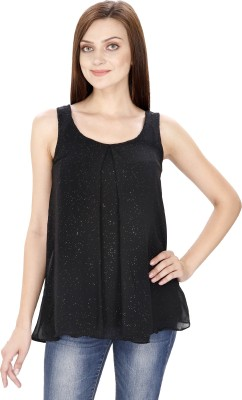 Svt Ada Collections Casual Sleeveless Solid Women's Black Top