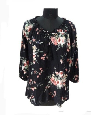 Eleganceranuka Formal 3/4 Sleeve Floral Print Women's Black Top