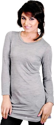 My Hollywood Shop Casual Full Sleeve Solid Women's Grey Top