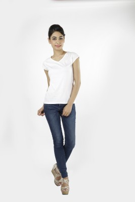 Shilpi Casual Cape Sleeve Solid Women's White Top