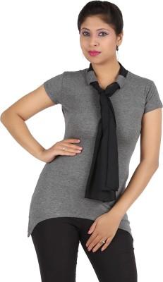 Harsha Casual Short Sleeve Solid Women's Grey Top