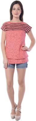 Florrie Fusion Casual Cap sleeve Printed Women's Pink Top