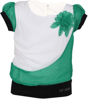 LEI CHIE Casual Short Sleeve Self Design Girl's Green Top