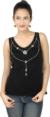 Clo Clu Party Sleeveless Embellished Women,s Black Top