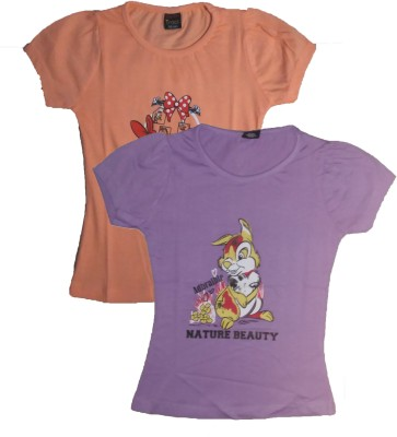 T2F Formal Petal sleeve Printed Girl's Purple, Brown Top