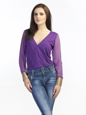 Schwof Party Full Sleeve Solid Women's Purple Top