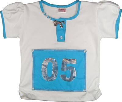 Retaaz Casual, Festive, Party Puff Sleeve Solid Girl's White, Light Blue Top
