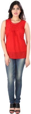 Dovekie Casual Sleeveless Self Design Women's Red Top