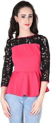 Hermosear Casual 3/4 Sleeve Solid Women's Pink Top