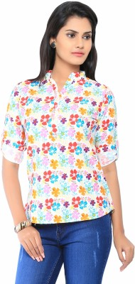 Liba Casual Roll-up Sleeve Floral Print Women's Multicolor Top