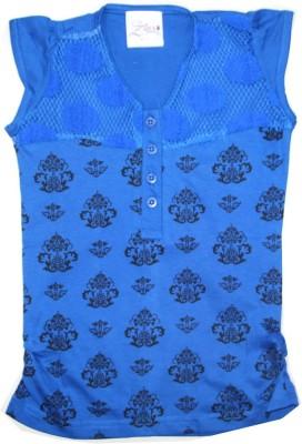 Kidsmasthi Casual Cap sleeve Printed Girl's Blue Top