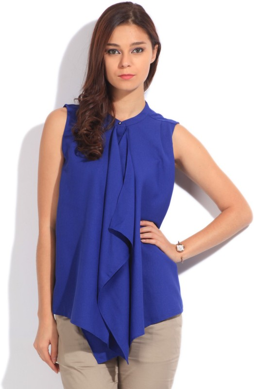 United Colors of Benetton Casual Sleeveless Solid Women's Blue Top