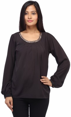 Entease Casual Full Sleeve Solid Women's Black Top