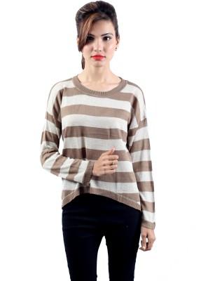 Envy Casual Full Sleeve Striped Women's Beige, White Top