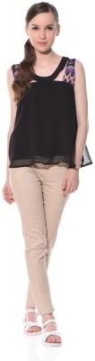 XNIVA Casual Sleeveless Solid Women's Black Top