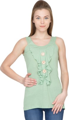 Species Casual Sleeveless Solid Women's Light Green Top