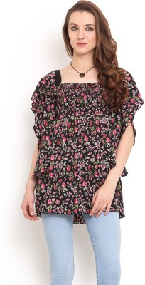 Trend Arrest Casual Kimono Sleeve Printed Women's Black Top