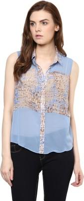 Avirate Casual Sleeveless Printed Women's Light Blue Top