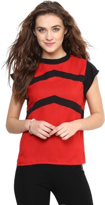 Uptownie Lite Casual Cap sleeve Solid Women's Red Top