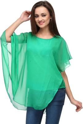 Vemero Clothings Lounge Wear Cape Sleeve Solid Women's Green Top