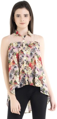 Kazo Casual Sleeveless Floral Print Women's Pink Top