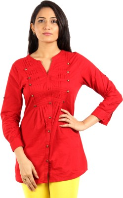 Mustard Casual 3/4 Sleeve Solid Women's Red Top