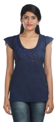 Zoe Fashions Formal Short Sleeve Embroidered Women's Dark Blue Top
