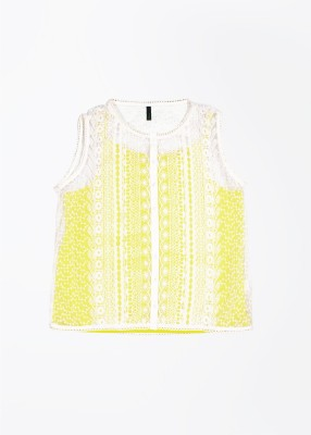 United Colors of Benetton Party Sleeveless Self Design Baby Girl's White, Yellow Top