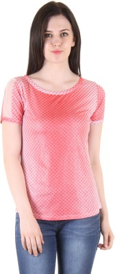 SS Casual Short Sleeve Printed Women's Red Top