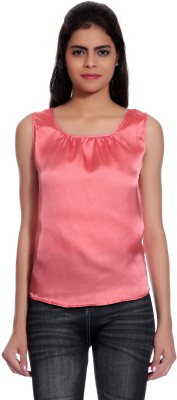 Glam Quotient Casual Sleeveless Self Design Women's Pink Top