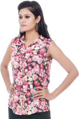BrandTrendz Casual Sleeveless Printed Women's Multicolor Top