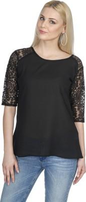 Aussehen Casual 3/4 Sleeve Solid Women's Black Top