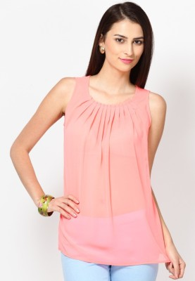 Tops and Tunics Casual Sleeveless Solid Women's Orange Top