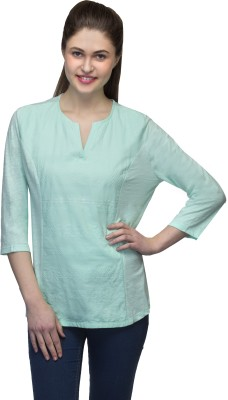 One Femme Casual, Lounge Wear 3/4 Sleeve Embroidered Women,s Blue Top