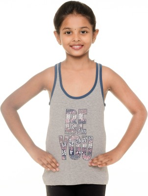Menthol Lounge Wear Sleeveless Printed Girl's Grey Top