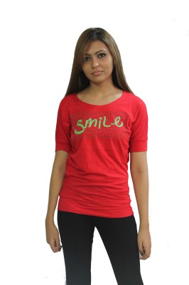 Beautic Casual, Formal Short Sleeve Printed Women's Red Top