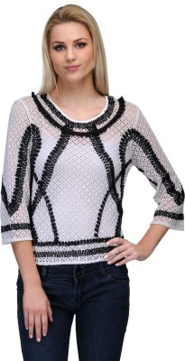 Curvy Q Casual 3/4 Sleeve Self Design Women's White, Black Top