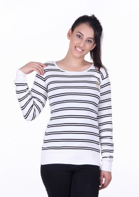 Oner Party, Casual, Sports, Festive Full Sleeve Solid, Striped Women's White, Black Top