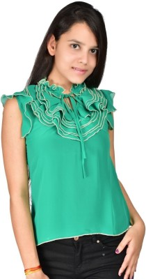 Palette Casual Sleeveless Solid Women's Green Top