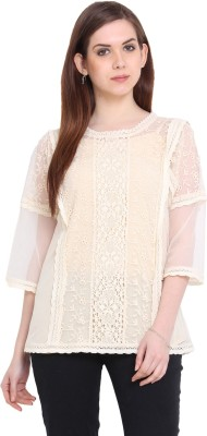 Global Colours Casual 3/4 Sleeve Embroidered Women's Beige Top