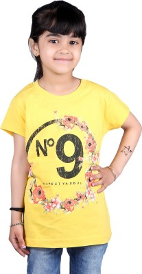 Skidlers Casual Short Sleeve Solid, Graphic Print Girl's Yellow Top